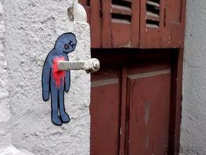 街头涂鸦 马路上的插画艺术