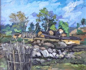 油画 家乡的风景之一