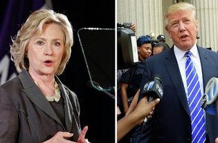 资料图片:希拉里与特朗普.