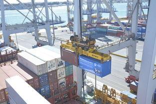 ↑9月22日,在新西兰奥克兰,装有进博会参展展品的集装箱正在装船.