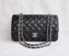2012新款香奈儿包包双C黑色羊皮菱格金银链条单肩女包1113代购