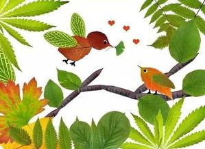 树叶粘贴画图片小鸟