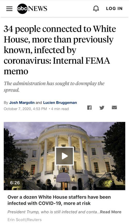 △美国广播公司abc新闻报道:白宫至少已有34人确诊新冠肺炎.