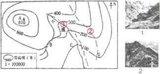 读 某地等高线地形图 .回答问题. l 写出图中字母所代表的地形部位的名称.A ,B . 2 请将图片①和②的序号填在等高线地形图中对应的位置上. 3 C地海拔为 米