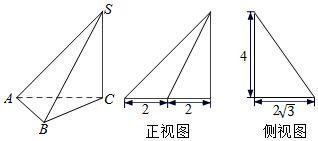三棱锥S ABC及其三视图中的正视图和侧视图如图所示,则棱SB的长为 高中数学