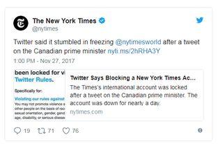 twitter再次人为出错误封纽约时报账户