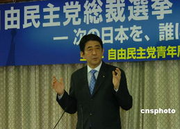 9月14日,安倍晋三在日本自民党青年局操办的讨论会上.