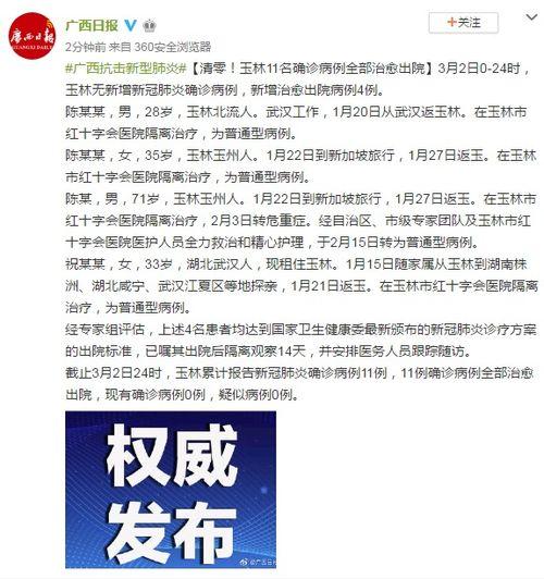 清零玉林11名确诊病例全部治愈出院