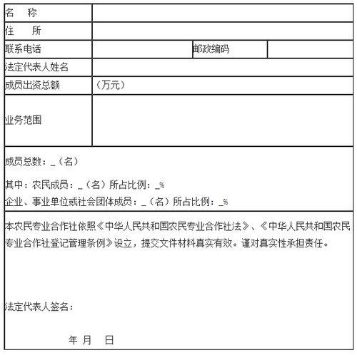 贵州种植合作社申请书