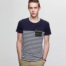 包邮PPZ男装2014新款圆领条纹海军风短袖T恤时尚经典海魂T恤上衣