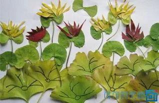 树叶粘贴画制作过程