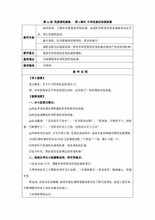 小学民族常识中华大家庭教案