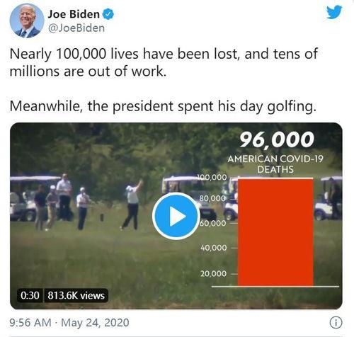 拜登批特朗普打高尔夫美死亡近10万人总统却忙着打球