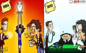 Goal.com 漫画 普拉蒂尼 从1984灵猫到2012的肥猫
