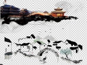 中国风水墨寺庙