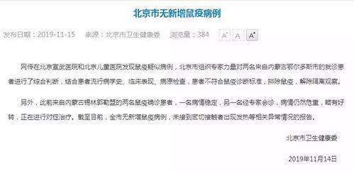 北京市卫健委无新增鼠疫病例疑似患者已解除隔离
