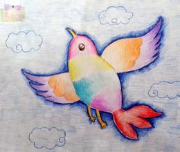 彩色铅笔画图片大全 飞翔的小鸟