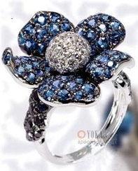 蓝宝石花朵造型钻石戒指 ycxhx的时尚图片