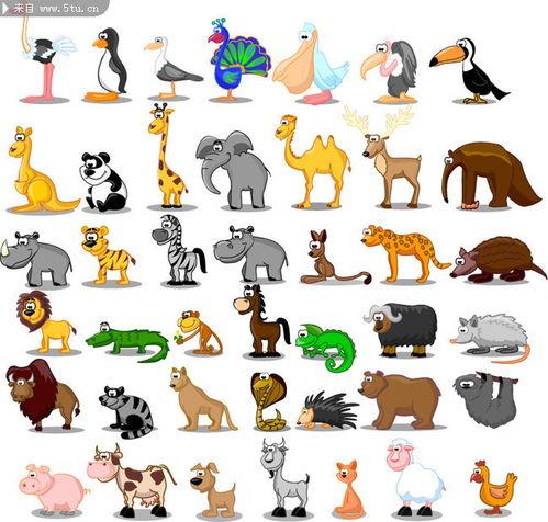 动物世界图片大全卡通动物全图漫画素材