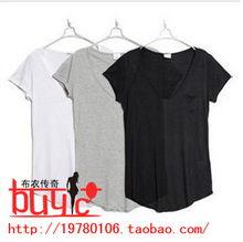 2012夏装新款女装 欧美百搭V领打底小衫口袋宽松短袖女式T恤