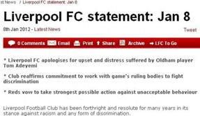 利物浦官方致歉种族歧视行为 危机公关弥补形象