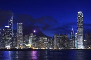 香港维多利亚湾夜景图片