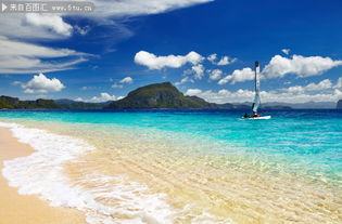 ...海边 蓝天 白云 沙滩海滩 小艇 远山 海边风景 海浪 ...-大海美景图片