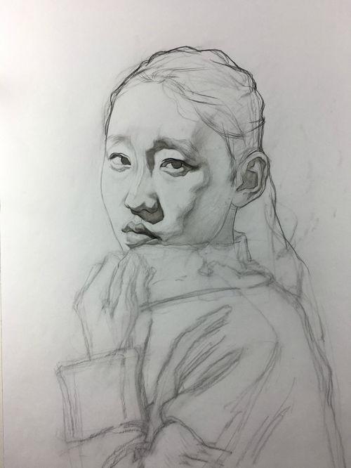 超简单素描画图片大全-刘斌素描 穿毛衣女孩超写实素描步骤教程图