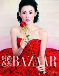 张柏芝登 时尚芭莎 1月封面 妆 做粉色小主妇
