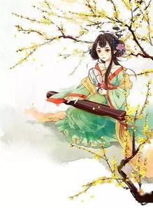 唯美简笔画之练武术的古代女孩