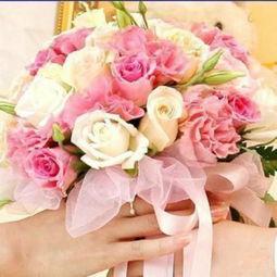 上海鲜花店新娘手捧花白玫瑰粉玫瑰香槟玫瑰实体花店预订婚礼用花