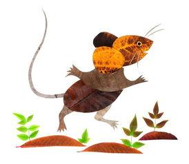 十二生肖树叶粘贴画老鼠