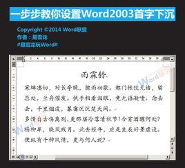 Word 2003如何设置首字下沉