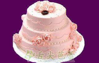 聚划算生日蛋糕五环内免费送 粉色最爱 8 10 12寸三层水果淡奶油生日蛋糕