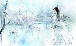 唯美简笔画之观赏美丽花朵的古代女孩