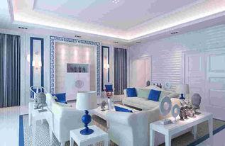 地中海风格客厅集成电视背景墙装修效果图 5款小清新地中海客厅整体电视墙造型设计
