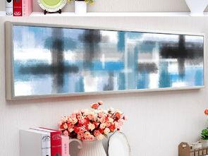 工装蓝色调抽象油画客房卧室床头画
