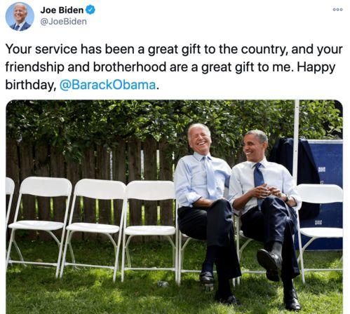 2017年,拜登祝奥巴马生日快乐.