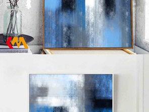 欧式蓝色调抽象油画客厅卧室装饰画
