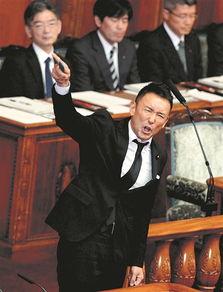 9月19日,在日本东京国会参议院,在野的生活党议员山本太郎投票时痛斥安保法案.