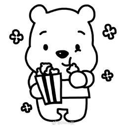 吃饼干的小熊维尼简笔画