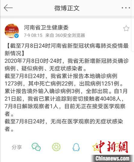 截至7月8日24时,河南省累计报告本地确诊病例1273例,其中死亡病例22例,出院病例1251例.