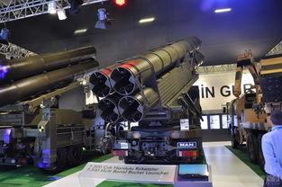 土耳其军工近日在伊斯坦布尔防务展上展示多款自行研发的多管火箭炮.