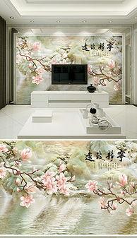 ...玉石花鸟电视墙背景素材 玉石花鸟电视墙模板下载 我图网