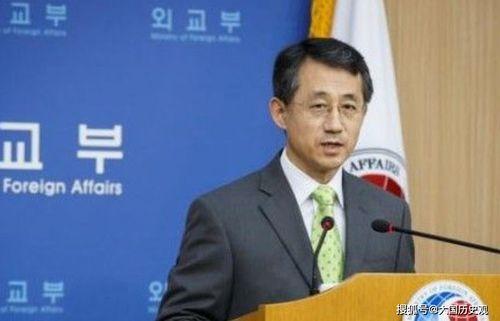 8月30日,韩国外交部发言人赵泰永在记者会上发言.